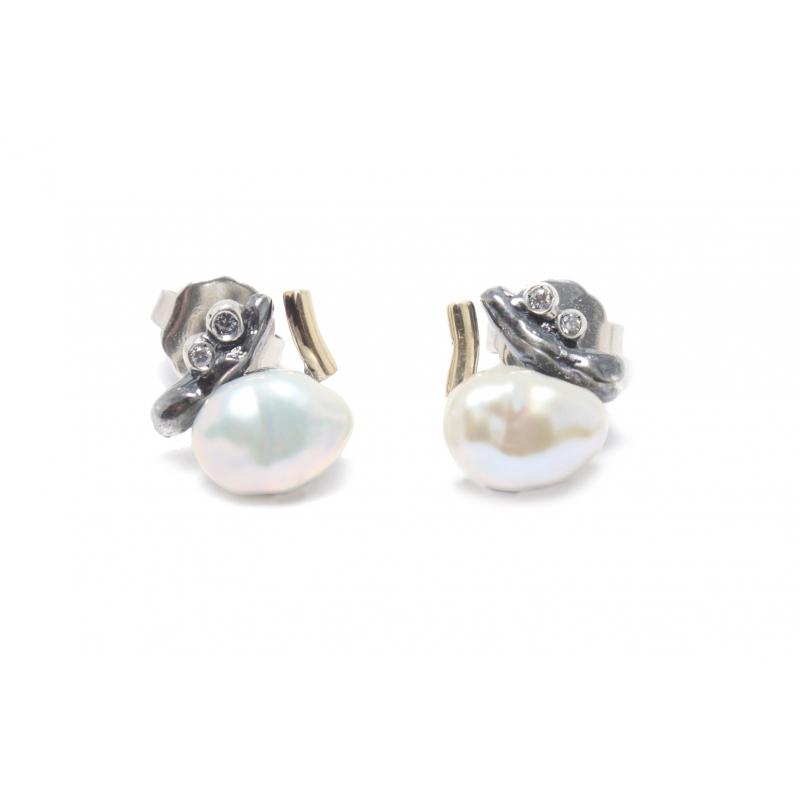 Arracades plata ennegrida, or, perla i circonites