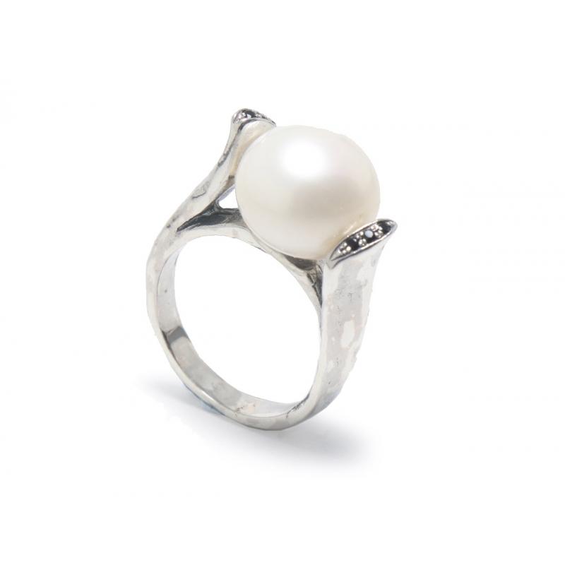 Anell plata , perla i zirconites
