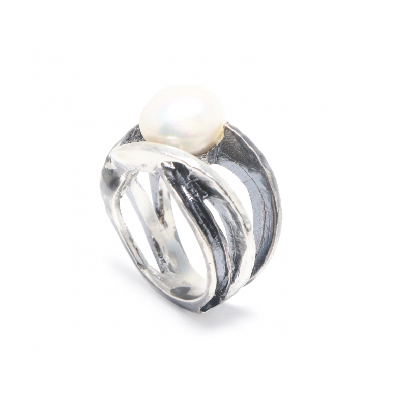 Anillo plata y perla