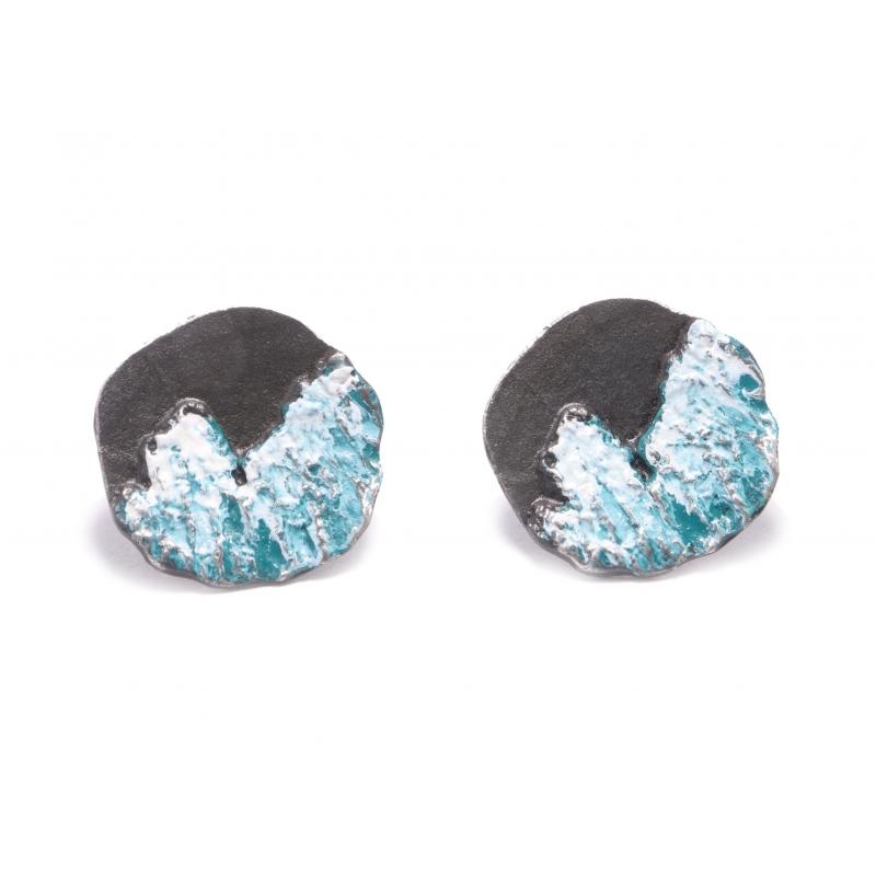Arracada plata ennegrida i pigment