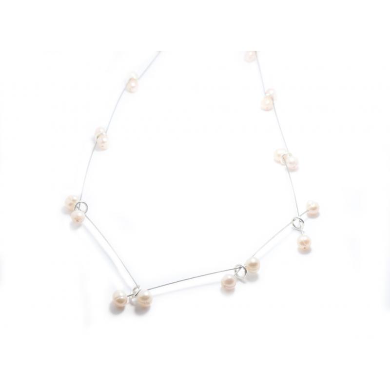 Collar plata,acero y perlas