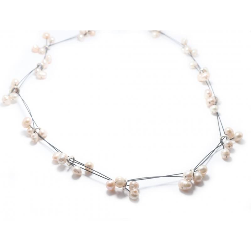 Collar plata, acero y perlas