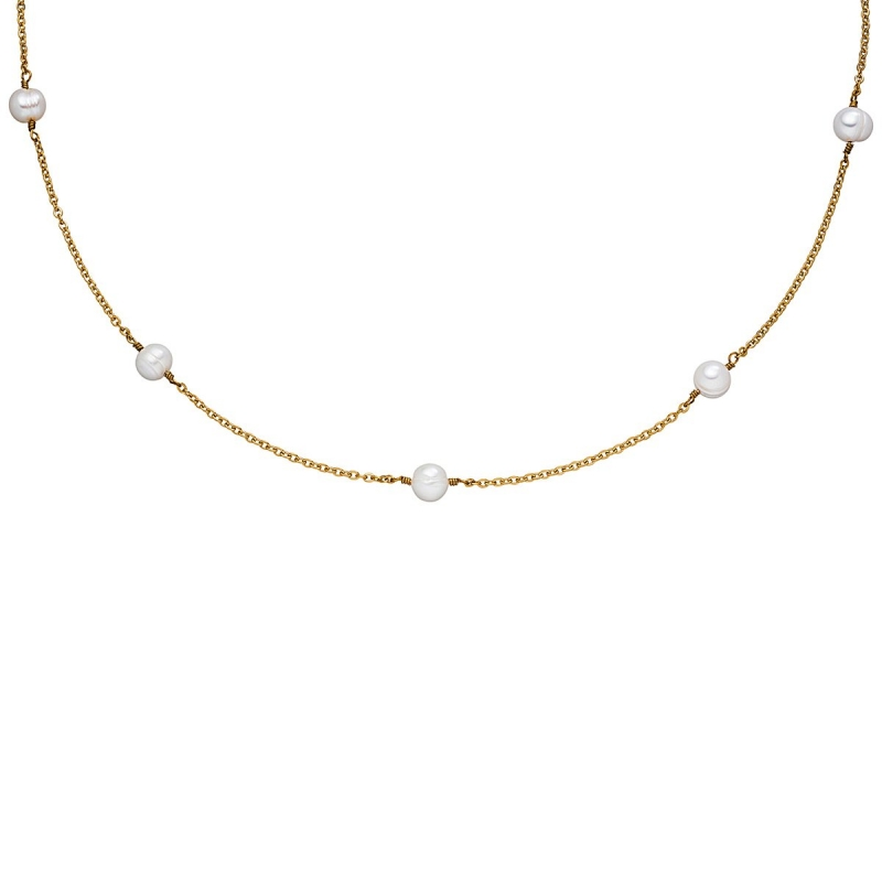 Collar de acero con baño de oro y perlas