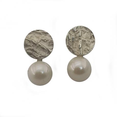 Arracades plata i perla