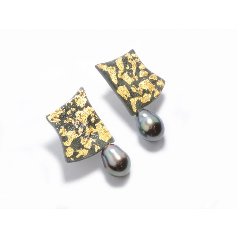 Arracada plata ennegrida, or i perla