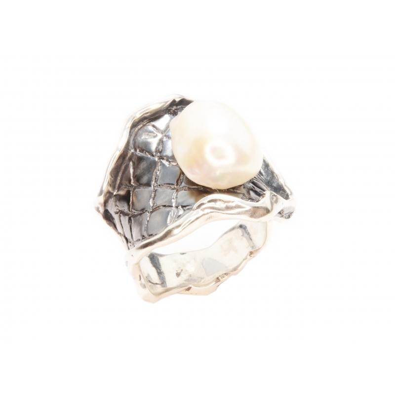 Anell plata i perla
