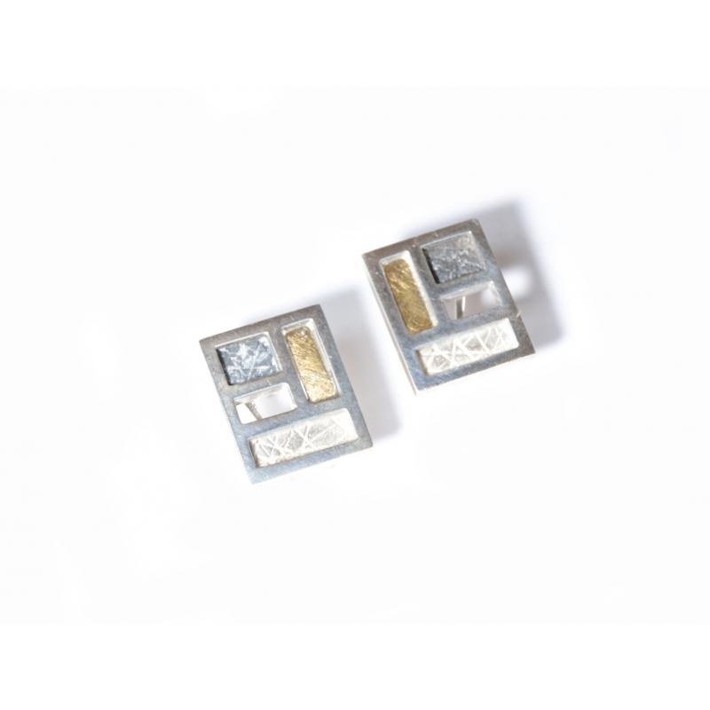 Arracada plata ennegrida, plata i or
