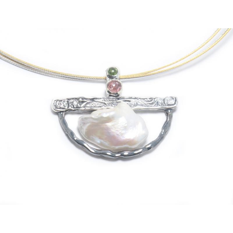 Penjoll plata , pedres i perla