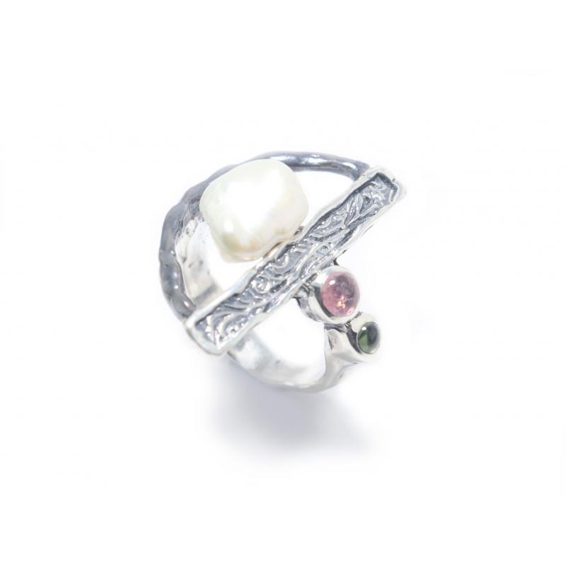 Anell plata , pedres i perla